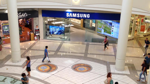 Samsung store inside shopping mall Stock Video Footage