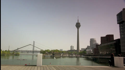 Dusseldorf Harbor Is Home To Some Spectacular Post stock footage