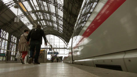 Frankfurt, overlook high-speed rail slowly pulling Stock Video Footage