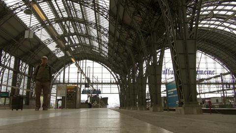 Frankfurt, overlook high-speed rail slowly pulling Stock Video Footage