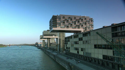 Modern building in Cologne / Koeln - Skyline Stock Video Footage