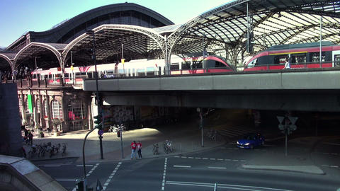 high-speed rail slowly pulling out of the station Footage