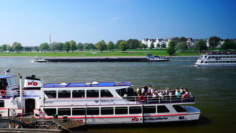 Rhine promenade in Dusseldorf, Germany.real time Stock Video Footage