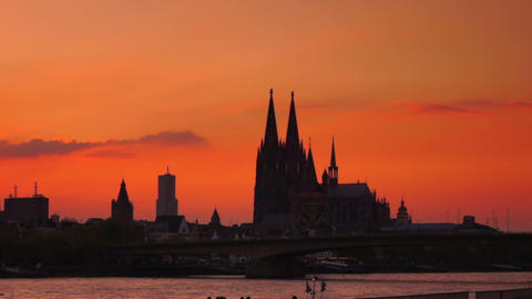 panoramic urban Scenes of Cologne, Koln, Germany Stock Video Footage