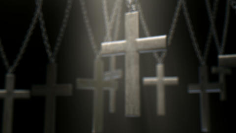 hanging crucifixes and chains spotlight pan Animation