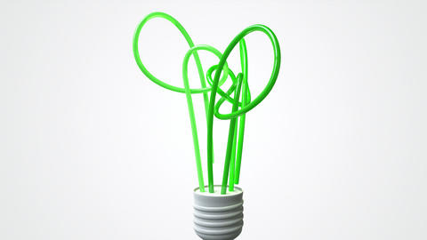 lightbulb stylised green tree animate Stock Video Footage