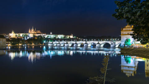 prague charles bridge castle night time lapse 1139 Footage