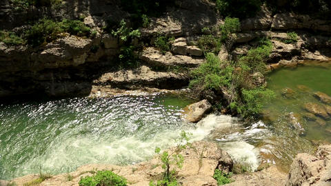 Waterfall, mountain stream. Black River. Crimea, R Stock Video Footage