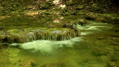 Waterfall, mountain stream. Black River. Crimea, R Stock Video Footage