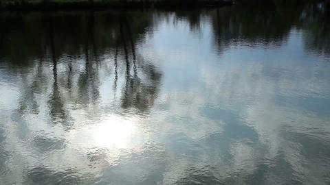 Reflection of clouds in the river. Full HD Footage