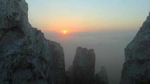Timelapse sunrise in the mountains. Village Beloku Stock Video Footage