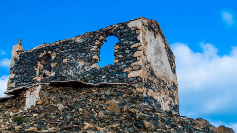 dolly shot of a ruin on Cape Verde Stock Video Footage