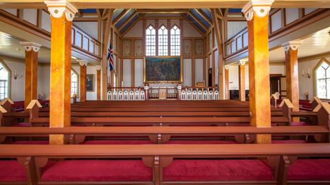 church in Husavik, Iceland Footage