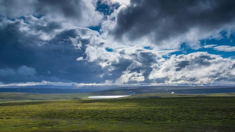 plain with cloudy sky in Iceland Stock Video Footage