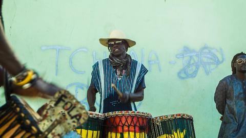 percussion group on Boa Vista, Cape Verde Footage