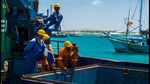 harbor workers Stock Video Footage