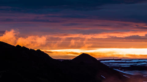 sunset at Snaefellsjoekull in Iceland Stock Video Footage