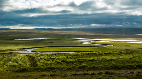 River Running Through A Valley In Iceland stock footage