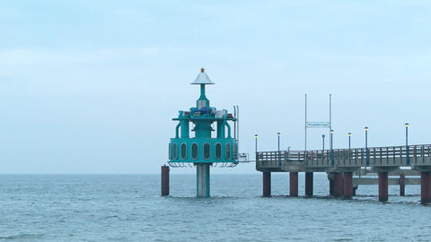 submerged gondola at a footbridge Footage
