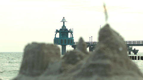 submerged gondola and a sandcastle Stock Video Footage