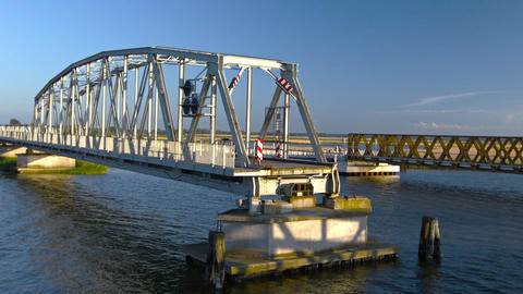 open swing bridge Stock Video Footage