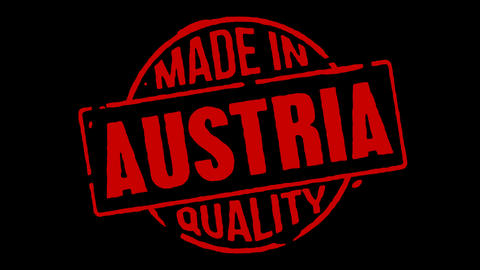 Red Rubber Stamp Made In Austria Stock Video Footage