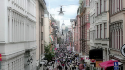 Busy Shopping Street 29,97fps stock footage