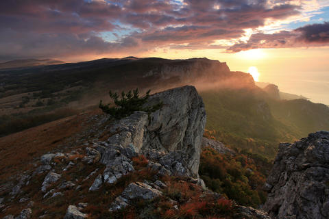 4K. Timelapse sunrise in the mountains Ai-Petri. A Footage
