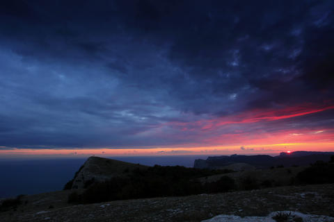 4K. Timelapse sunset in the mountains Merdven-Kaya Stock Video Footage