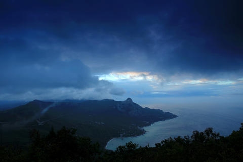 4K. Timelapse sunrise in the mountains bay Laspi.  Footage