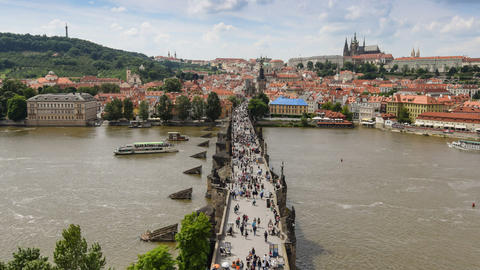 charles bridge prague top view time lapse11399 Footage