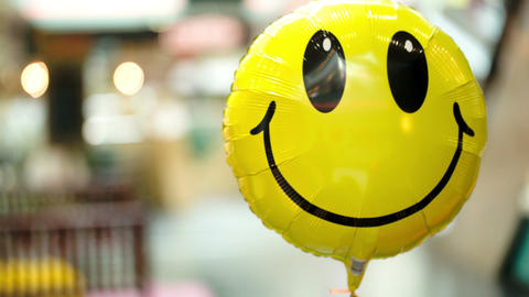 Smiling Balloon Floating In The Air stock footage