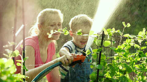 Mom And Son Watering The Garden Together stock footage