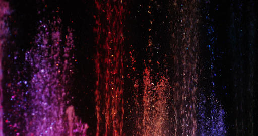 Fountain With Color Illumination In Slow Motion 4K stock footage