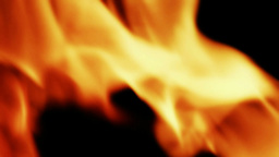 Orange Flames Black Background 25fps stock footage