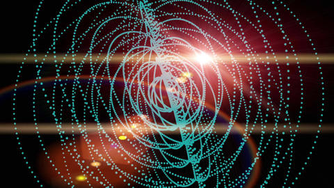 Circle ring Neon Glow light,Abstract fractal point... Stock Video Footage