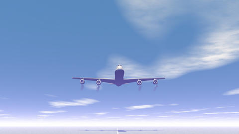Plane taking off - 3D render Stock Video Footage