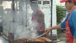 Thai Street Food Vendors Selling Som Tum and Grill Footage