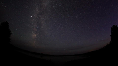 Starry sky over the lake Moiseevskoe, Valdaysky di Stock Video Footage