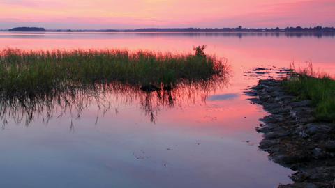 Sunset over the reservoir in Vyshny Volochyok, Vys Stock Video Footage