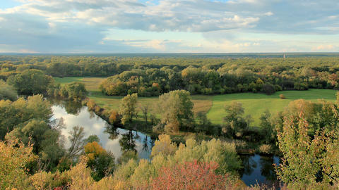 Movement of clouds over the river Seversky Donets Stock Video Footage