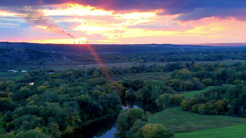 Timelapse sunset on the river Seversky Donets. Don Footage