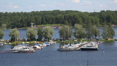 Marina, the harbour in Lappeenranta. Finland. 4K Footage