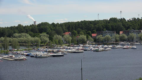 Marina, the harbour in Lappeenranta. Finland. 4K Stock Video Footage