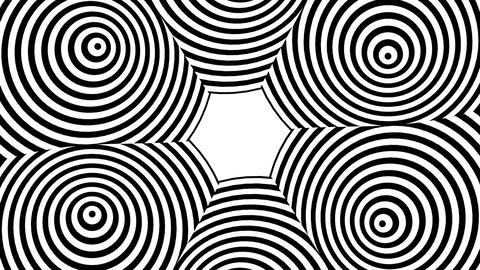 Black and white circles shifting to warped hexagon Animation