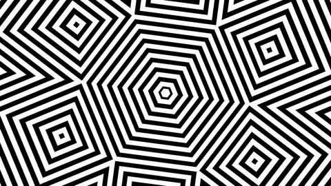 Black and white squares rotating around hexagon Animation