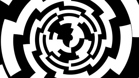 Black and white arcs form a spinning tunnel Animation
