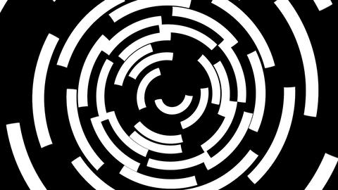 Black and white arcs form a spinning tunnel Stock Video Footage