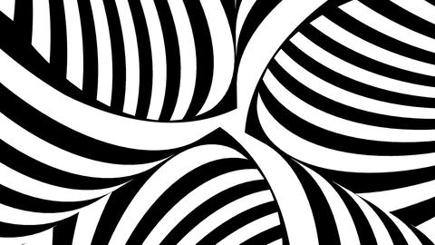 Black and white tubes with moving stripes Stock Video Footage