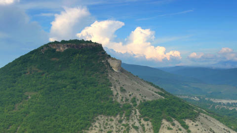 Movement of the clouds on the mountain. Cave city Stock Video Footage